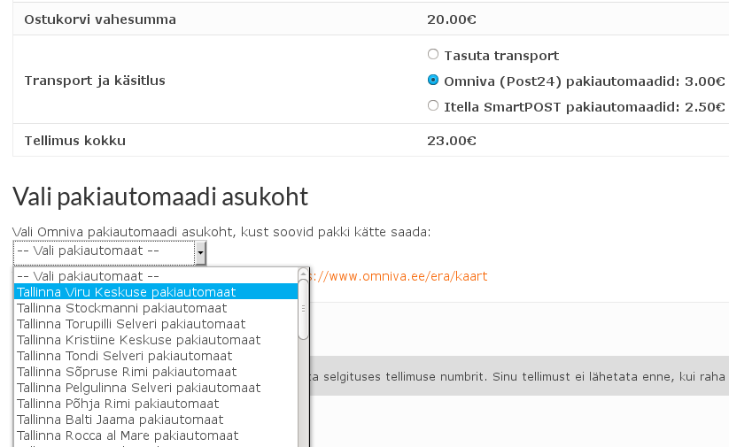 Omniva (Post24) plugin WooCommerce'ile